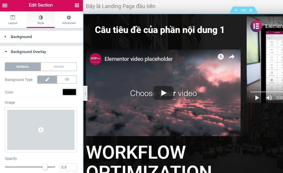 đổi màu overlay cho section trong landing page elementor