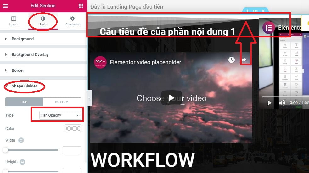 trang trí lại cho section trong landing page elementor