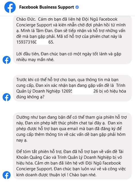 chat support với người hỗ trợ Facebook trong messenger